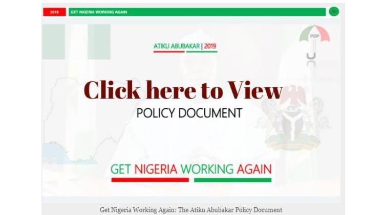 The Atiku Plan policy document