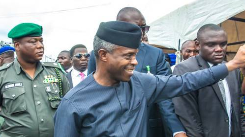 Vice President Yemi Osibanjo waving to his supporters