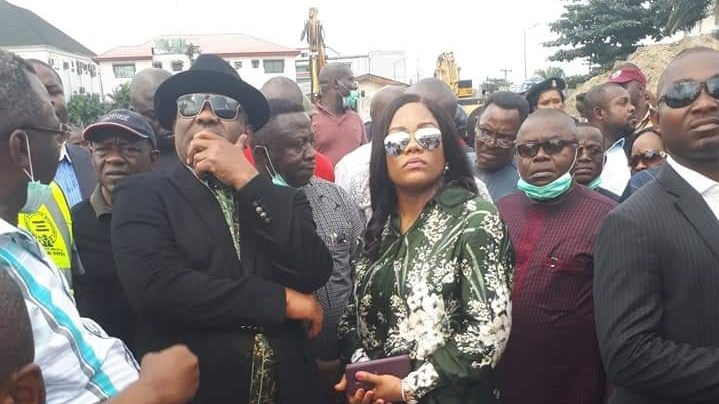 Governor Nyesom Wike and entourage at the site of the collapse building