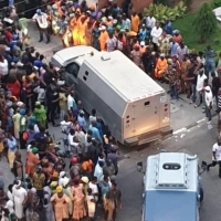 Photos of Bullion vans seen entering the residence of APC chieftain Bola Tinubu