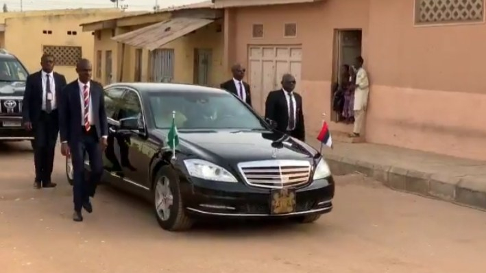 President Muhammadu Buhari motorcade driving him to his polling unit to cast his vote