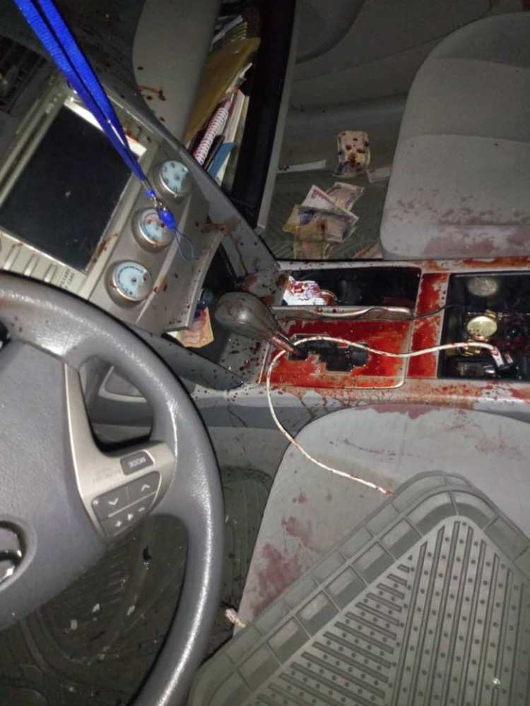 Blood stained car of Lawrence Ojei in which he was murdered
