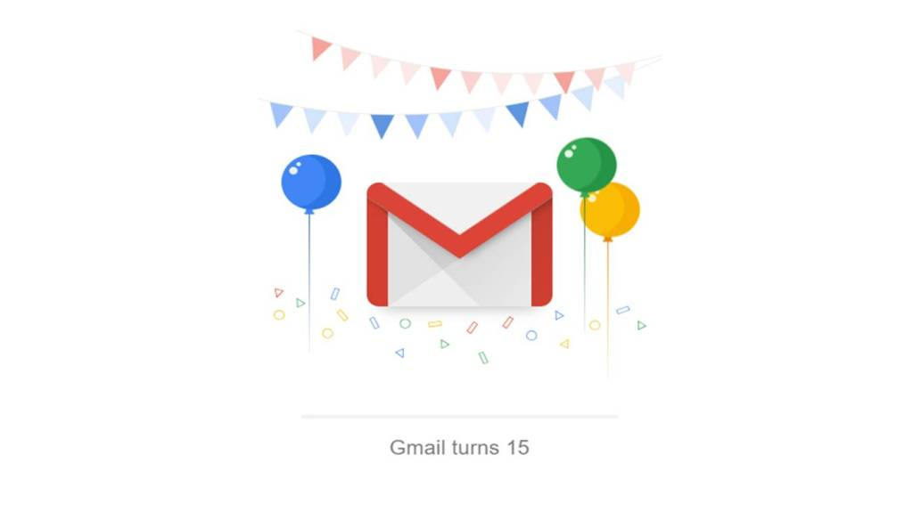 Google doodle celebrating Gmail 15 years