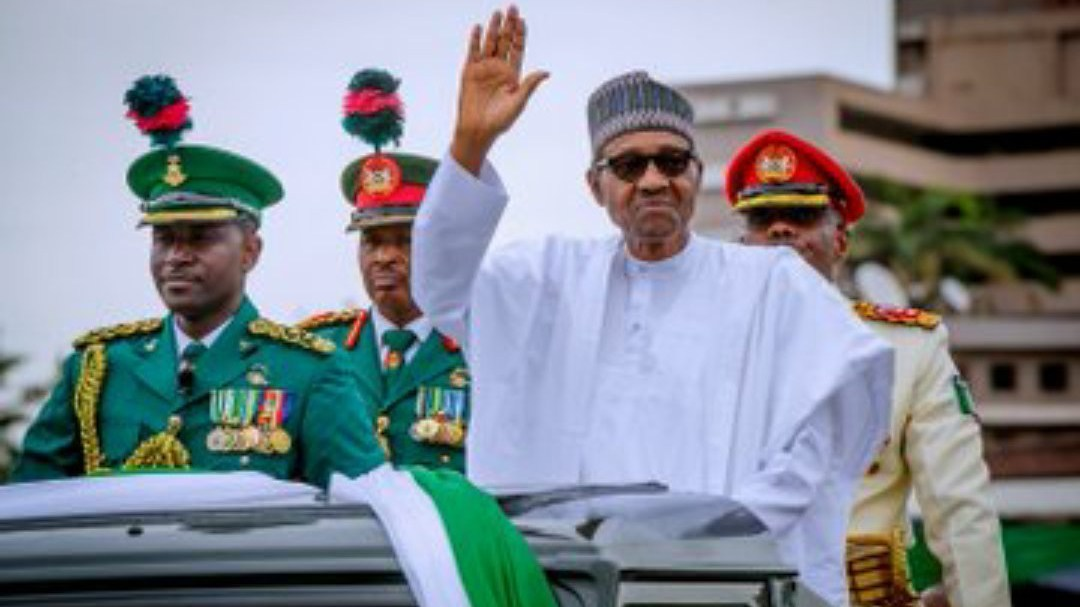 President Muhammadu Buhari waving to supporters during the 2019 inauguration.