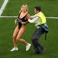 See the moment Kinsey Sue invaded the pitch during the Champions League match