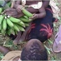 Heartbreaking photos of a woman with 2 kids caught stealing a bunch of banana