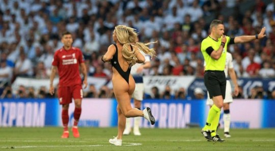 Kinsey Sue invading the pitch during the Champions League Final