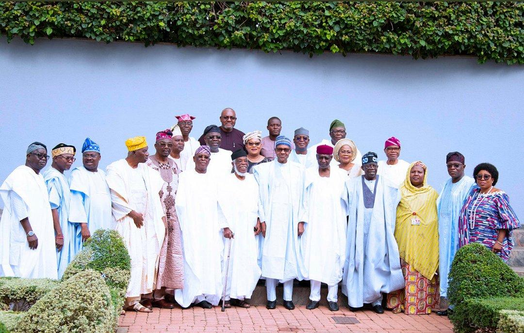Buhari with delegation from Afenifere on same spot