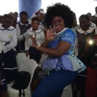 Dr Olufunmilayo coaches on how to resuscitate a collapsed person like Eunice who collapsed while dancing at St Maria Goretti due to cardiac arrest