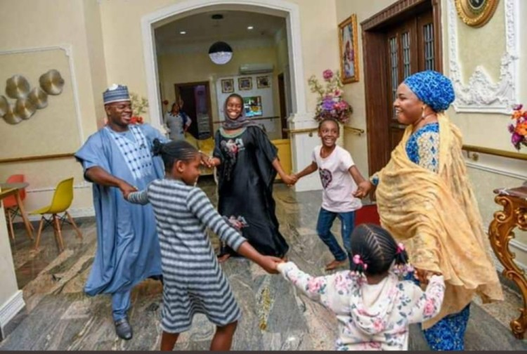 Yahaya Bello and his immediate family members