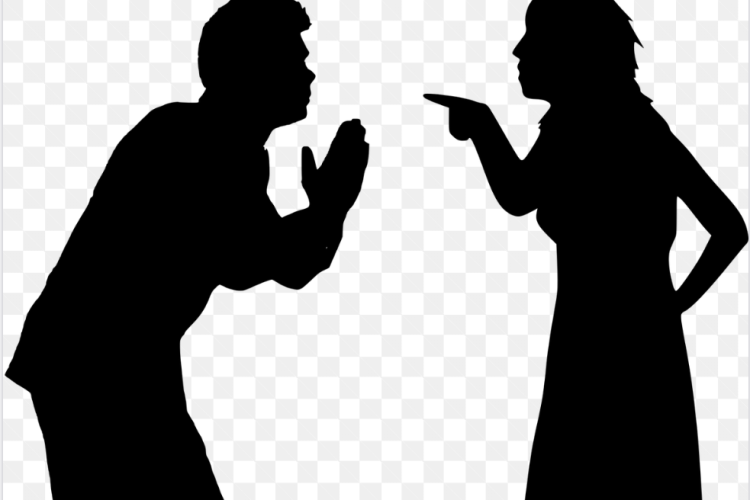 Woman telling her husband she is out of the marriage