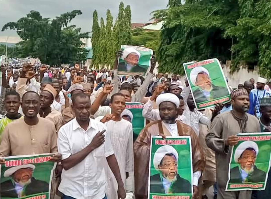Nigeria Shi'ites in a peaceful procession protesting the incarceration of their Leader El-Zakzaky