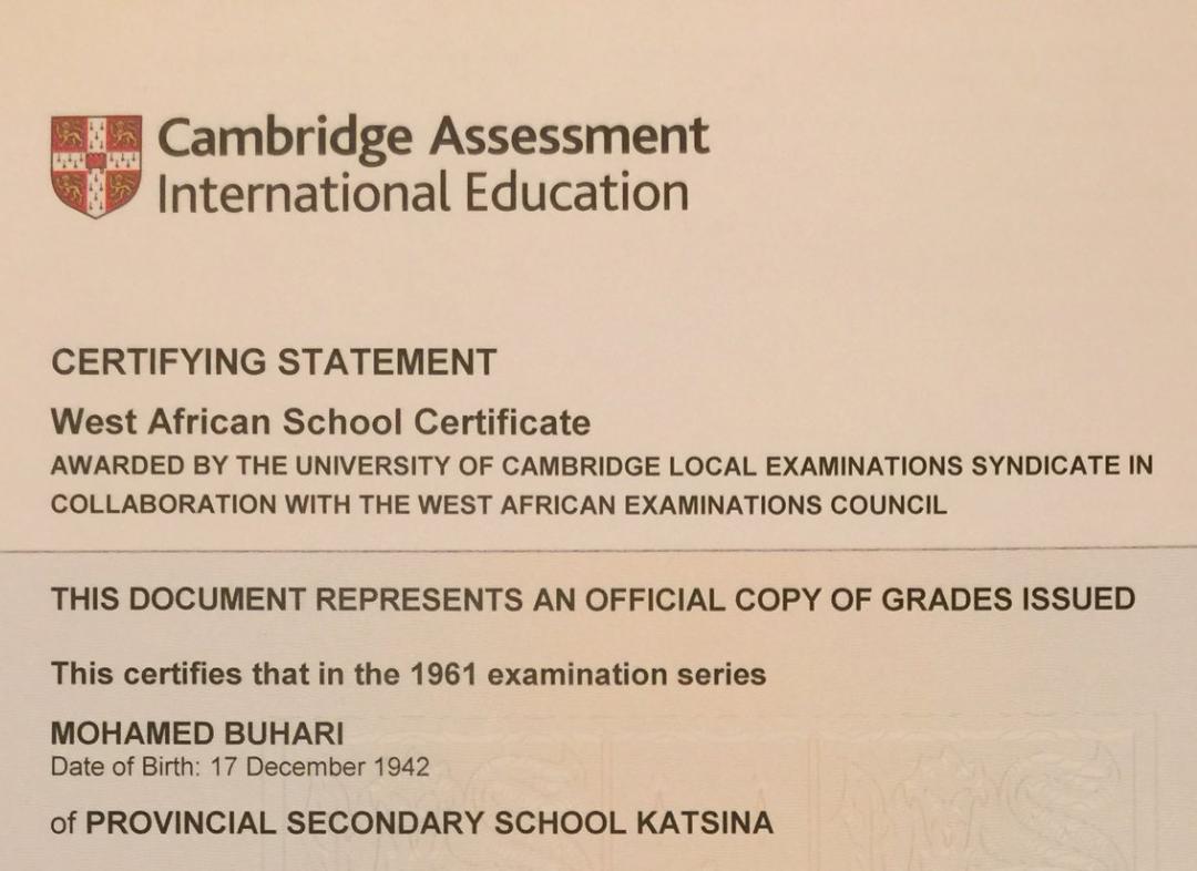 President Buhari Cambridge certifying statement of results