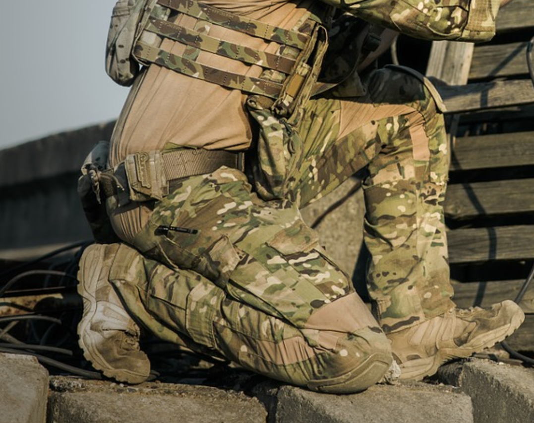 A soldier engaged in a shootout