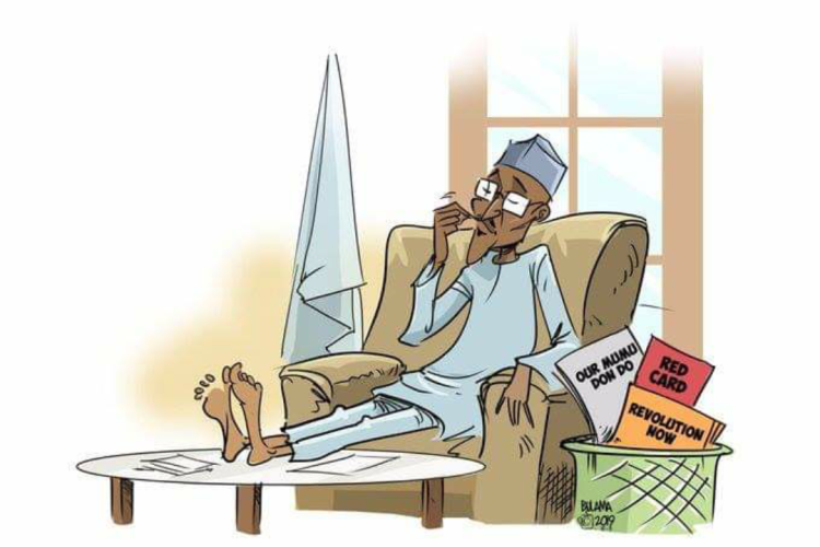 A sketch of President Buhari picking his teeth after meal in Aso Rock