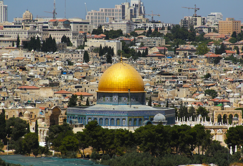 Mountain view of Jerusalem a pilgrimage city for Christians