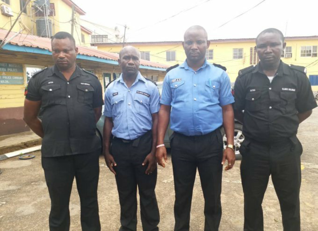 The arrested four Policemen who executed two suspected armed robbers