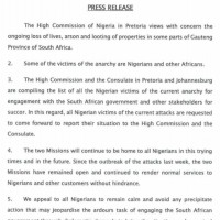 Nigeria High Commission in South Africa puts out a statement over xenophobic attacks on Nigerians and their businesses in South Africa
